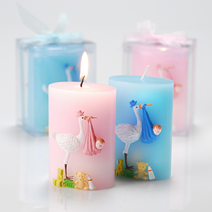 stork candle baby shower favor